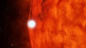 Representación artística de una enana blanca pasando por delante de una estrella enana roja. La gravedad de la enana blanca es tan grande que tuerce y amplía la luz de la estrella roja percibida desde la Tierra. (Imagen: NASA/JPL-Caltech)