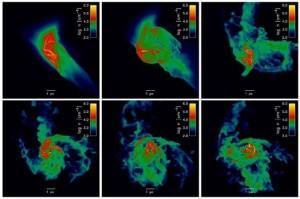 Esta simulación muestra la inestabilidad hidrodinámica provocada por un rápido enfriamiento en un halo cósmico de materia oscura rico en elementos pesados, cuando el universo tenía sólo 300 millones de años de edad. (Imágenes: Chalence Safranek-Shrader, Milos Milosavljevic, y Volker Bromm, Universidad de Texas en Austin)